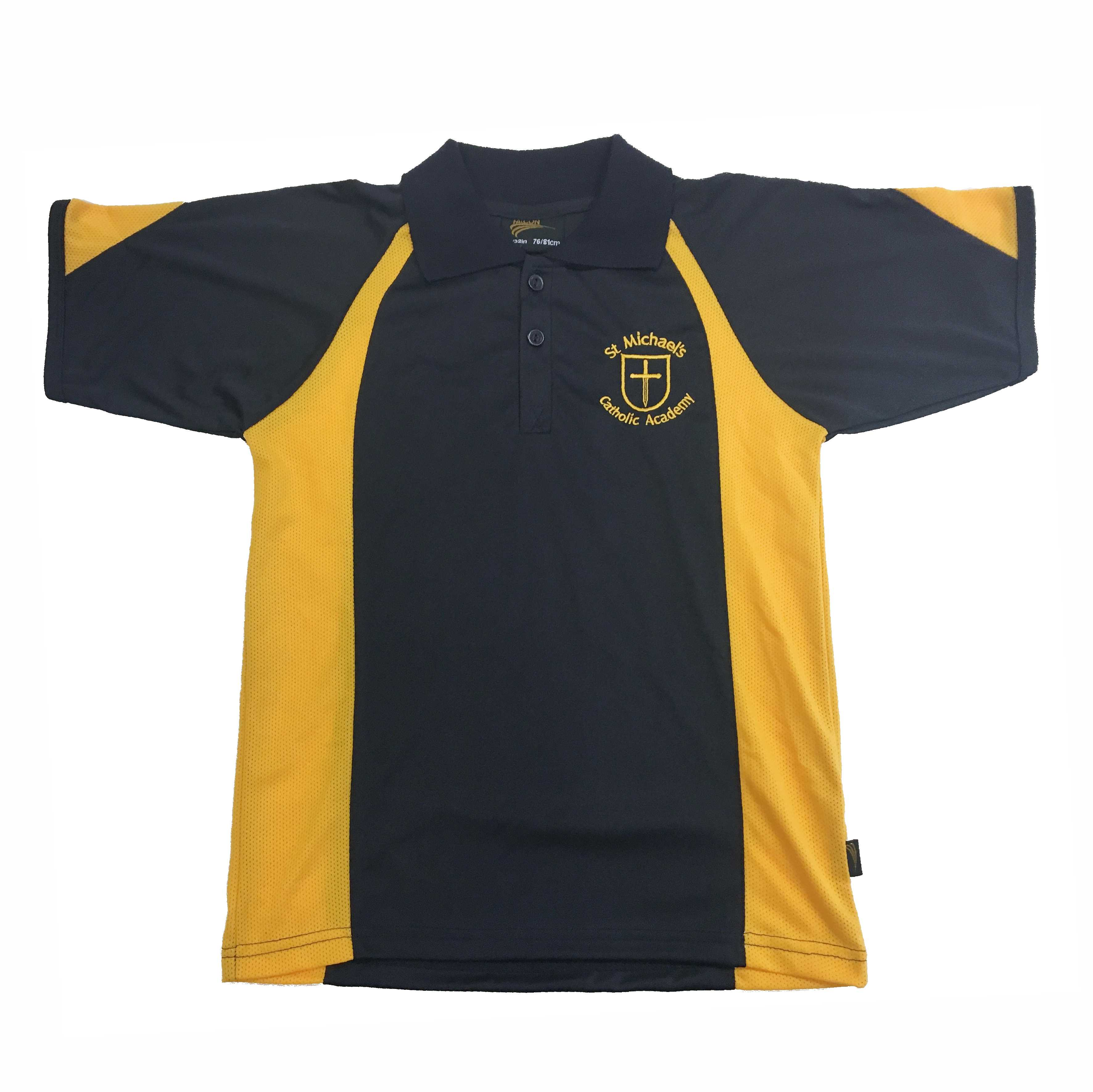 bdc053889 St Michael's Navy/Gold P.E Polo Shirt w/Logo - Schoolwear Solutions